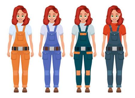 Little girl worker vector design illustration isolated on white background