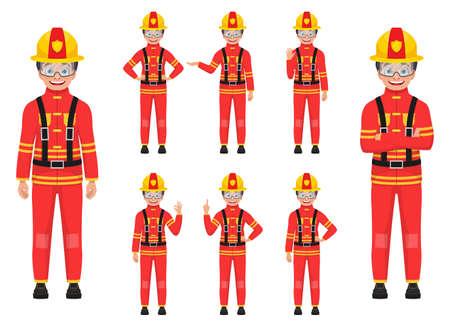 Boy firefighter vector design illustration isolated on white background Vettoriali