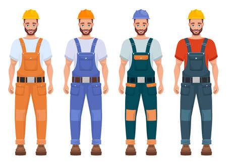 Worker family vector design illustration isolated on white background