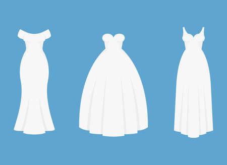 Bride white dress vector design illustration isolated on blue background