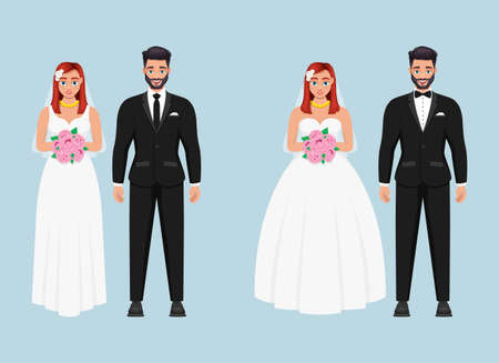 Bride and groom vector design illustration isolated on blue background