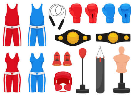 Boxing elements vector design illustration isolated on white background Vettoriali