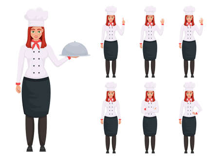 Chef woman vector design illustration isolated on white background Vettoriali