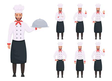 Chef man vector design illustration isolated on white background Vettoriali