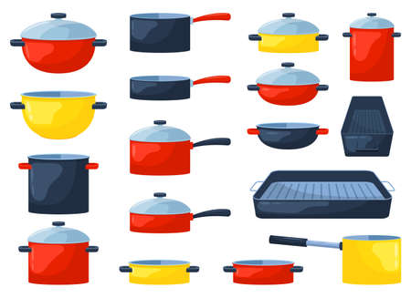 Cooking pot set vector design illustration isolated on white background