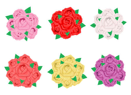 Rose bouquet vector design illustration isolated on white background