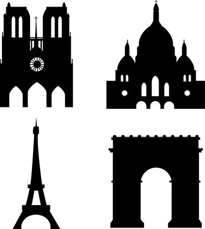 parijs bezienswaardigheden Eiffeltoren Sacre-Coeur Arc de Triomph Notre-Dame de Paris Vector Illustratie