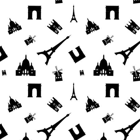 cite: paris sights seamless pattern