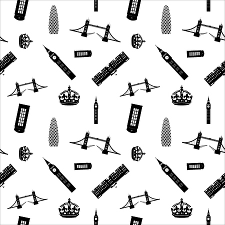 thames: london sights seamless pattern
