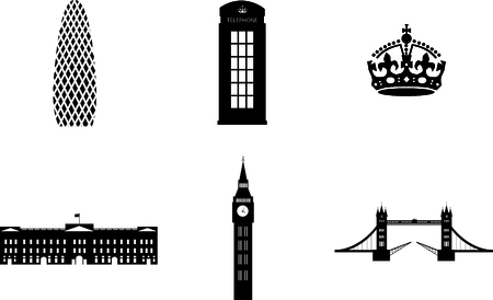 gherkin: london sights attributes vector Illustration