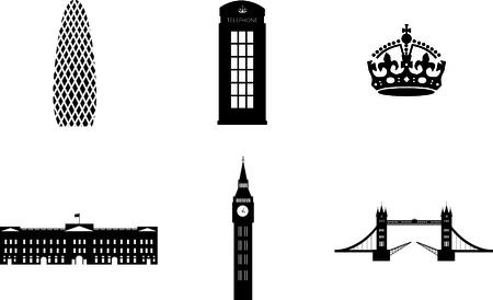 sights: london sights attributes vector Illustration