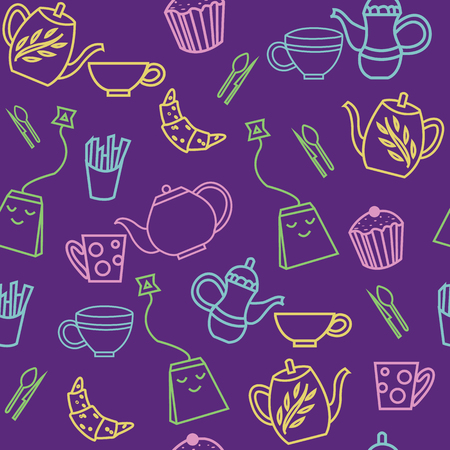 Smiling teabags for tea party seamless pattern Иллюстрация