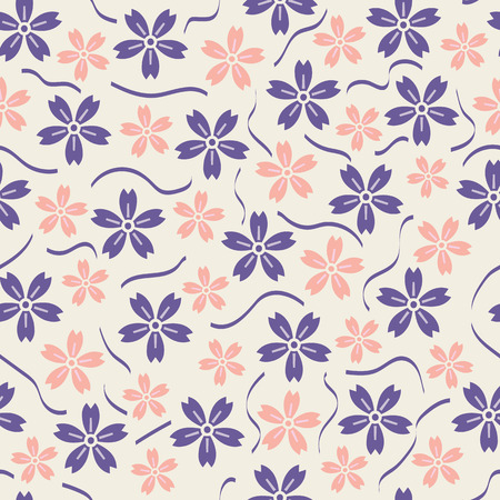 Vector floral and ribbon seamless pattern background. Surface pattern design perfect for any surface like wallpaper, fabric, wrapping, scrap booking and many more.