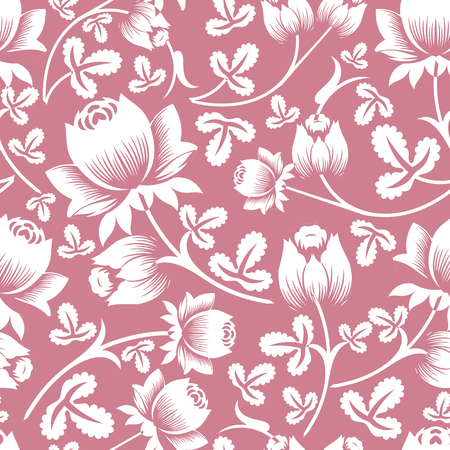 Stancil Floral Art Vector seamless pattern background in pink and white pastel color. Perfect use for wall-paper, fabric, textile, wrapping paper and many other kind of surface.