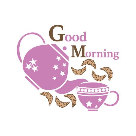 Bonne illustration vectorielle du matin pour l'heure du thé avec quelques biscuits dans de belles couleurs. Idéal pour l'heure du thé, les impressions de napperons, les cadeaux, le papier peint, les arrière-plans, les projets de conception d'emballages.