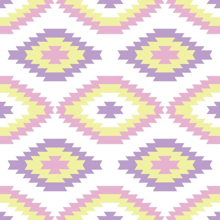 Pastel color zigzag geometrical vector seamless pattern background in yellow, green, purple, pink colors. Can be use for wallpaper, fabric, packaging, placemat, stationary etc. Ilustração
