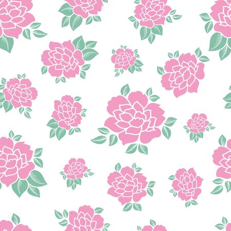 Pastel pink flower vector seamless pattern background on white color background. Great use for textile, wallpaper, packaging projects, home decor etc.