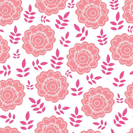 Peach flower and pink leaf vector seamless pattern background. Perfect use for fabric, wallpaper, scrapbooking, giftwrap, packaging projects, fashion etc.