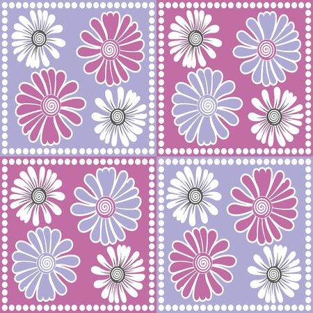 Pastel pink and purple boxed vector flower seamless pattern background. Great use for bed sheets, home decor, curtains, fabric, wallpaper, duvet etc.