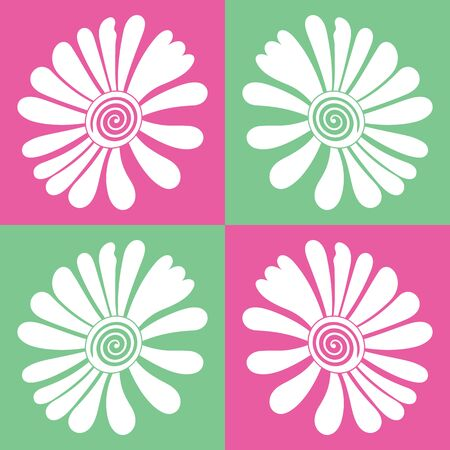Pink and green boxed vector flower seamless pattern background. Great use for bed sheets, home decor, curtains, fabric, wallpaper, duvet etc.