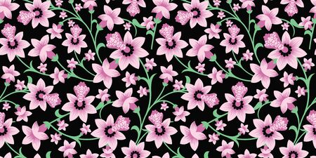 Pastel pink blossom floral vector seamless pattern background. Perfect look for fabrics, wallpaper, fashion, giftwrap, scrapbooking etc. Illustration