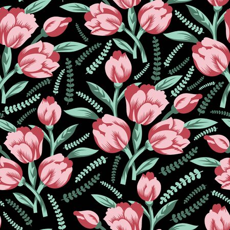 Beautiful pink rose flower bunch vector seamless pattern background with green leafs. Perfect use for wallpaper, fabric, fashion, packaging projects, giftwrap etc.