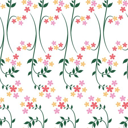 Vector flowers with leaf stem repeat seamless pattern background. Perfect use for wallpaper, fabric, packaging, giftwrap, stanatiory etc. Illustration