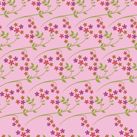 Vector baby pink flowers with leaf stem repeat seamless pattern background. Perfect use for wallpaper, fabric, packaging, giftwrap, stanatiory etc.
