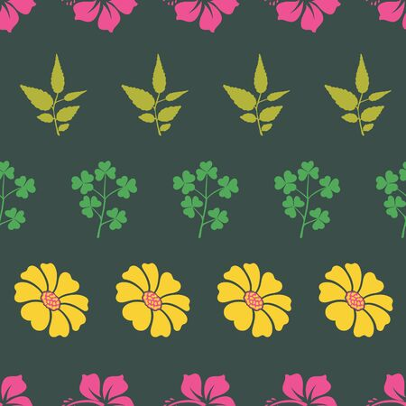 Vector hibiscus and sunflower with leaf horizontal stripe seamless pattern background. Perfect use for fabric, textile, wallpaper, packaging projects, fashion, home decor etc.
