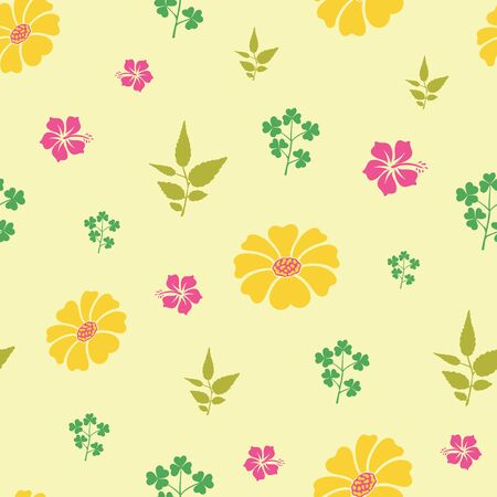 Vector hibiscus and sunflowers with leaf seamless pattern background. Perfect use for fabric, textile, wallpaper, packaging projects, fashion, home decor etc. Illustration