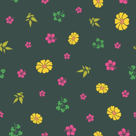 Vector green hibiscus and sunflowers with leafs seamless pattern background. Perfect use for textile, packaging projects, fashion, bedding etc. Illustration