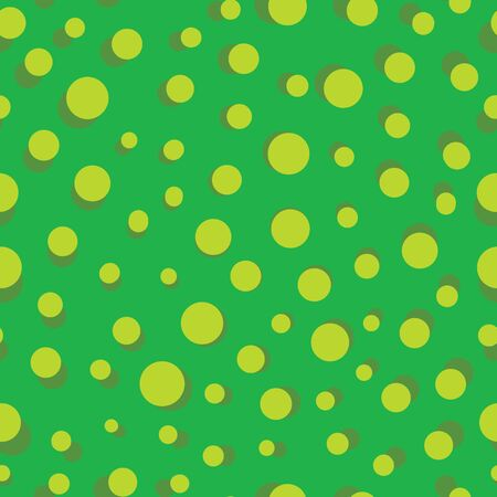 Vector simple green polka dots seamless pattern background. Perfect use for fabric, wrapping paper, stationery, packaging projects etc. Illusztráció