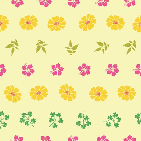 Vector hibiscus and sunflowers with leafs seamless pattern background. Perfect use for fabric, wrapping paper, packaging projects, fashion, home decor etc.