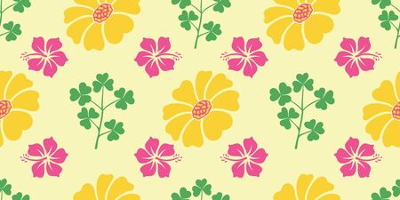 Vector hibiscus and sunflower with lovely leaf seamless pattern background. Perfect use for fabric, packaging projects, fashion, home decor, rug, bedding etc. Illustration