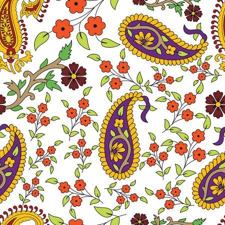 Indian traditional kalamkari paisley and flowers vector seamless pattern background. Perfect use for textile, fabric, fashion, homedecor, upholstery etc. Vettoriali