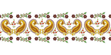 Indian traditional kalamkari border with paisley and flowers vector repeat pattern background. Perfect use for fabric, fashion, homedecor, saree etc.