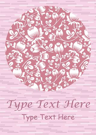 Lovely greeting card design with some texture in background and circle with rose flower print design. Great use for greeting cards, invitations, event, birthday etc