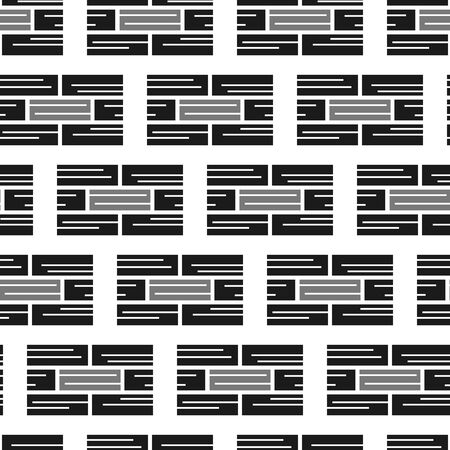 Vector geometrical brick horizontal stripes seamless pattern background in grey and black color. Perfect use for fabric, giftwrap, wallpaper, packaging projects etc.