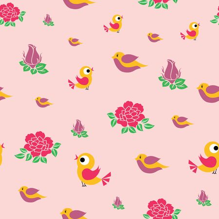 Vector cute birds and roses flowers seamless pattern background on peach color. Perfect use for fabric, fashion, bedsheet for kids, giftwrap, stationery, scrapbooking etc. Ilustração