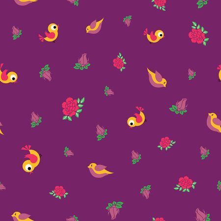 Vector small birds and roses seamless pattern 일러스트