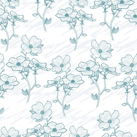 Lovely vector pastel blue flower bunch with scribble texture seamless pattern background. Perfect use for wallpaper, fabric, wrapping paper, giftwrap, scrapbooking and so on.