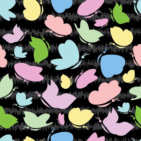 Vector multicolored butterflies silhouette with scribble texture seamless pattern background. Good use for fabric, wallpaper, stationery, kids products, giftwrap etc.