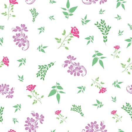 Vector rose and bail flower with leafs seamless pattern background. Perfect use for fabric, wallpaper, packaging projects, fashion, home decor and many more.