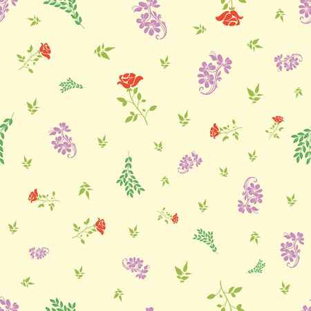 Vector rose and bail with small leafs seamless pattern background. Perfect use for fabric, wallpaper, packaging projects, fashion, home decor and many more.