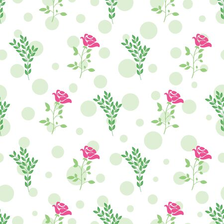 Vector rose and leaf with polka dots texture seamless pattern background. Perfect use for fabric, wallpaper, packaging projects, fashion, home decor, paper napkin and many more.