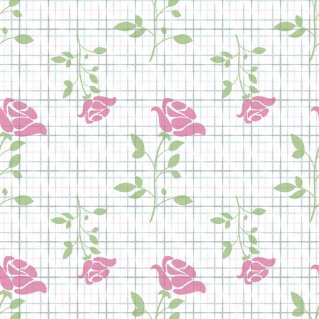 Vector rose with geometrical texture seamless pattern background. Perfect use for fabric, wallpaper, packaging projects, fashion, home decor, paper napkin and many more.