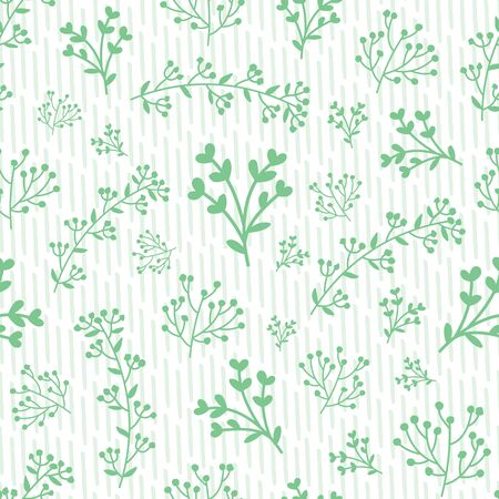 Vector green hand-drawn leafs doodle with stripes