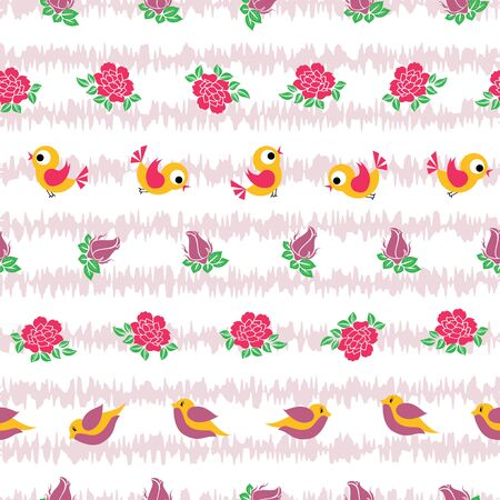 Vector birds and roses horizontal lines with texture seamless pattern background. Perfect use for fabric, fashion, homedecor, giftwrap, stationery, scrapbooking etc.