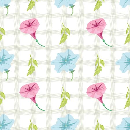 Vector petunia flowers with leaf and textured Standard-Bild - 133454571