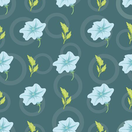 Vector pastel green petunia flower with leaf and Standard-Bild - 133454572